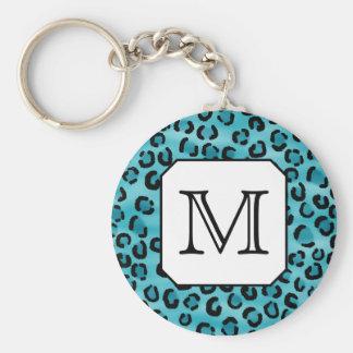 Empreinte de léopard turquoise, monogramme fait su porte-clé rond
