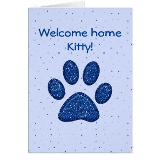 empreinte de patte de scintillement de chat - bleu carte de vœux