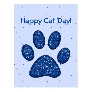 empreinte de patte de scintillement de chat - bleu carte postale