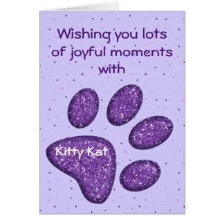 empreinte de patte de scintillement de chat - carte de vœux