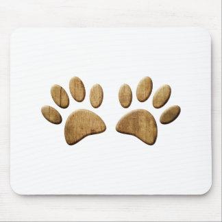 Empreinte de patte en bois de chien tapis de souris