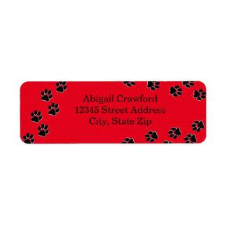 Empreinte de patte rouge - étiquette de adresse