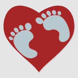 Empreintes de pas de bébé sticker cœur