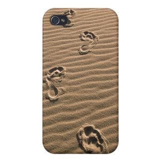 Empreintes de pas humaines sur la plage sablonneus étui iPhone 4/4S