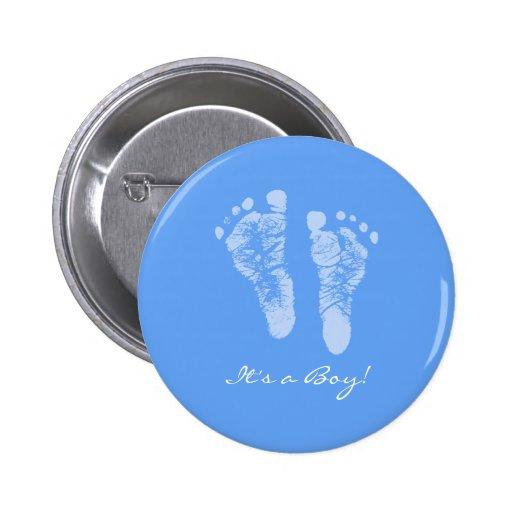 Empreintes de pas mignonnes de bébé bleu ses un ba badges avec agrafe