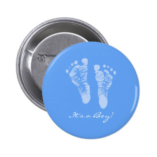 Empreintes de pas mignonnes de bébé bleu ses un badges