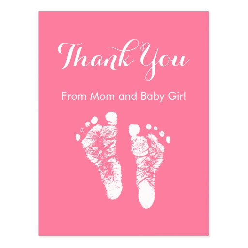 Empreintes de pas nouveau-nées roses mignonnes de  carte postale