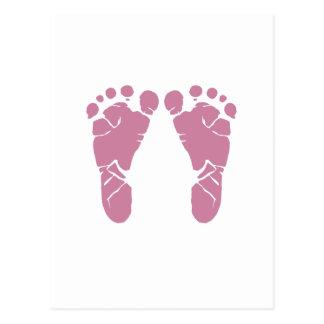 Empreintes de pas roses de bébé carte postale