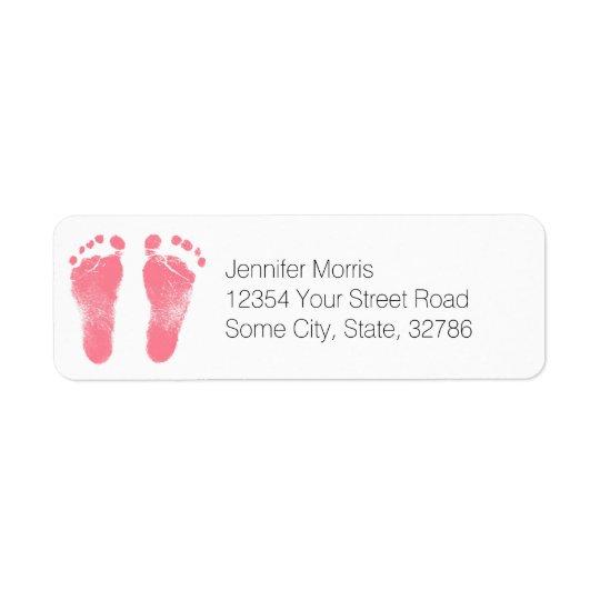 Empreintes de pas roses et blanches de bébé étiquettes d'adresse retour