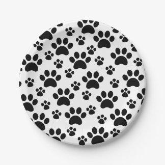 Empreintes de pattes de chien assiettes en papier