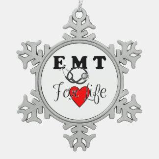 EMT pendant la vie Ornement Flocon De Neige Pewter