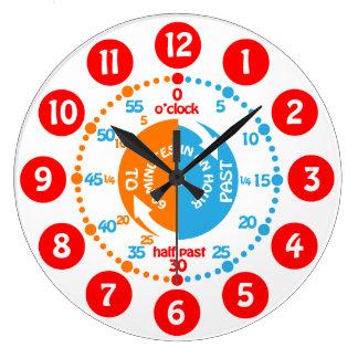 En apprenant tôt apprenez à dire l'horloge murale grande horloge ronde