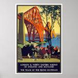 En avant l'affiche vintage de voyage de pont