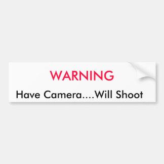 EN AVERTISSANT,     ayez l'appareil-photo….Tirera Autocollant De Voiture