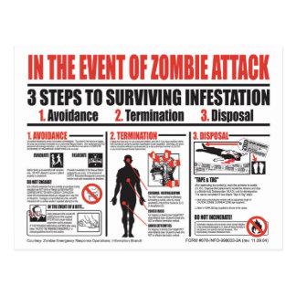 En cas de la CARTE POSTALE d'attaque de zombi