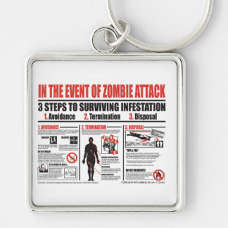En cas du PORTE - CLÉ d'attaque de zombi Porte-clé Carré Argenté