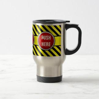 en cas d'urgence poussée ici mug de voyage en acier inoxydable
