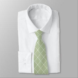 En forme de diamant de vert et blanc olive cravates