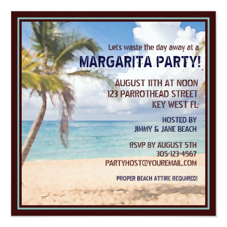 En gaspillant loin un jour à une margarita Party Carton D'invitation 13,33 Cm