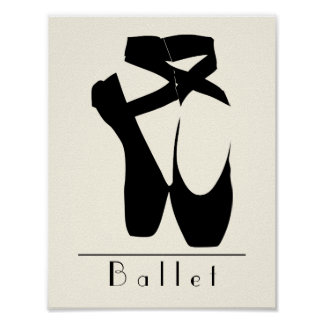 En noire Pointe de chaussures de ballet Poster