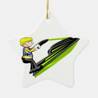 En sautant en jet ski ornement étoile en céramique
