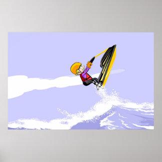 En sautant sur les vagues dans un Jet Ski Poster