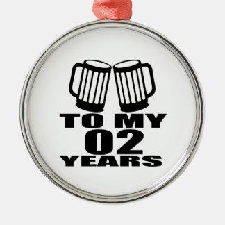 Encouragez à mes 02 années d'anniversaire ornement rond argenté