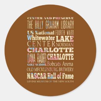 Endroits célèbres de Charlotte, la Caroline du Sticker Rond