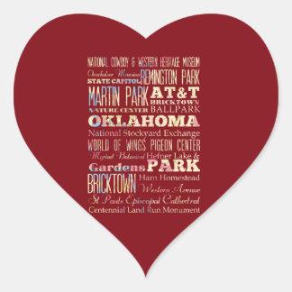 Endroits célèbres de l'Oklahoma, Etats-Unis. Sticker Cœur