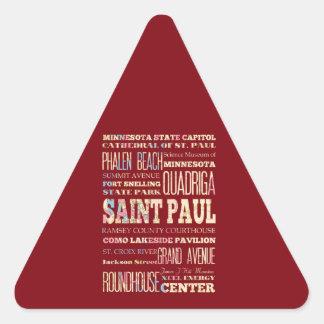 Endroits célèbres de Saint Paul, Minnesota Sticker Triangulaire