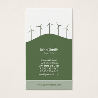 Énergie éolienne - modèle vert de carte de visite