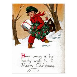 Enfant avec des présents carte postale