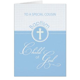 Enfant bleu de félicitations de baptême de cousin carte de vœux