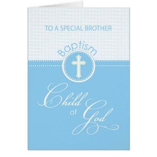 Enfant bleu de félicitations de baptême de frère carte de vœux