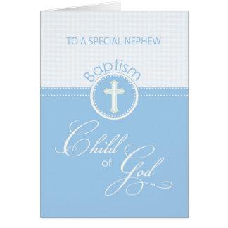 Enfant bleu de félicitations de baptême de neveu cartes