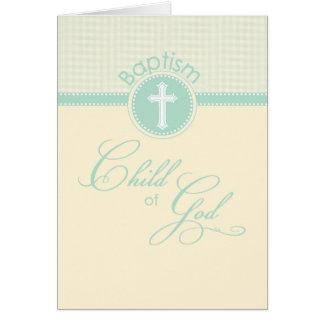 Enfant de baptême de Dieu, vert neutre de genre Carte De Vœux