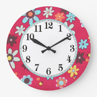 Enfant de fleur grande horloge ronde