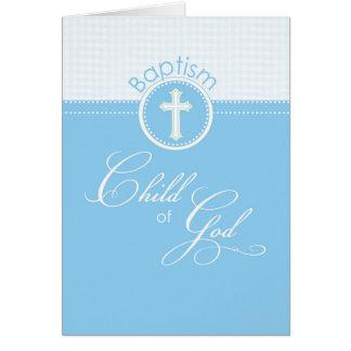 Enfant de garçon bleu des félicitations de baptême cartes