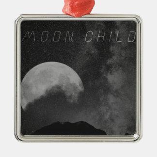 Enfant de lune de cadet de l'espace ornement carré argenté