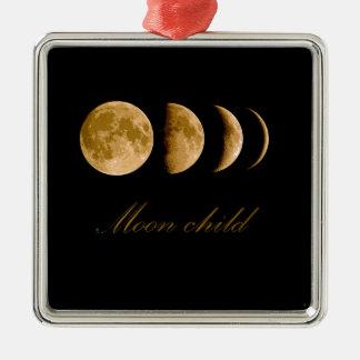 Enfant de lune ornement carré argenté