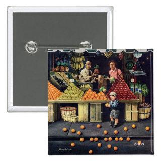 Enfant en bas âge et oranges badge