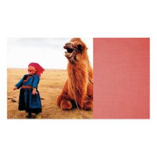 enfant riant et son chameau riant carte de visite standard