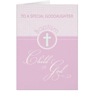 Enfant rose de félicitations de baptême de carte de vœux