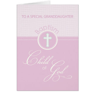 Enfant rose de félicitations de baptême de cartes