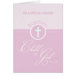 Enfant rose de félicitations de baptême de cousin carte de vœux