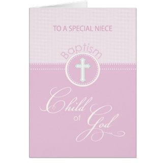 Enfant rose de félicitations de baptême de nièce cartes