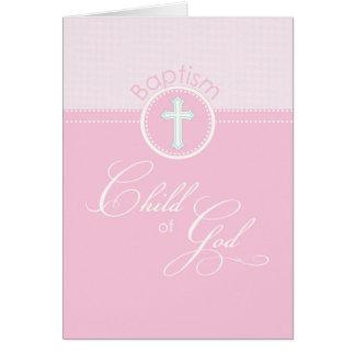 Enfant rose de fille des félicitations de baptême cartes