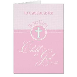 Enfant rose de soeur des félicitations de baptême carte de vœux