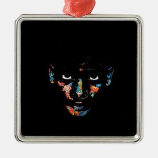 Enfant sauvage ornement carré argenté