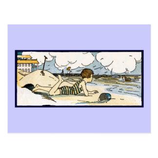 Enfant sur l'art de cru de plage cartes postales